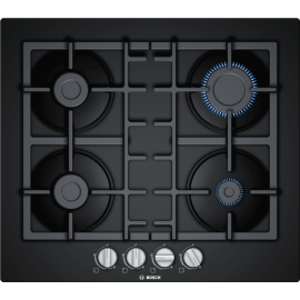 BOSCH Serie 4 Four Burner 60cm Gas-on-glass Hob With Cast Iron Pan Stands   PNP6B90