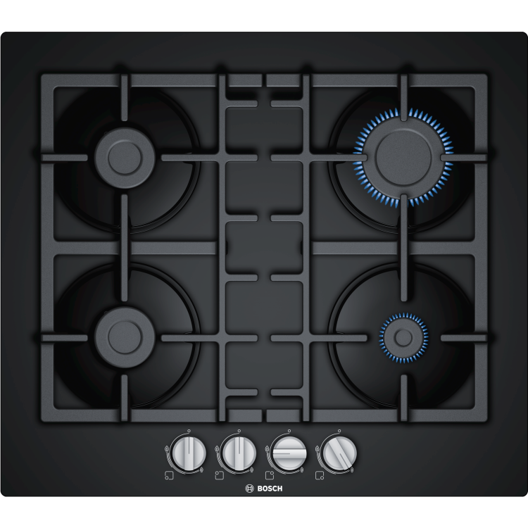 BOSCH Serie 4 Four Burner 60cm Gas-on-glass Hob With Cast Iron Pan Stands | PNP6B90