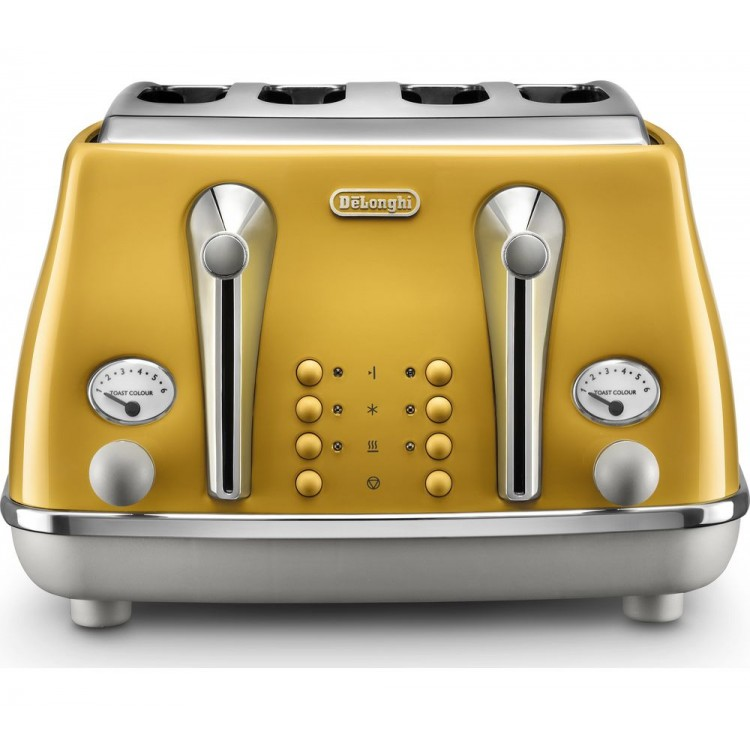 Delongi Icona Capitals 4 Slice Toaster YELLOW   CTOC4003.Y
