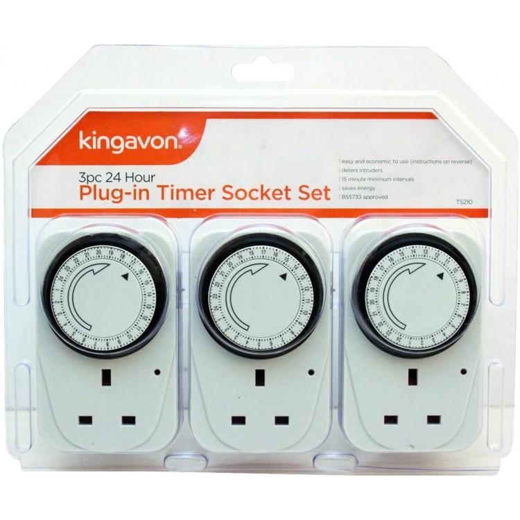 3pc 24 Hour Plug in Timer Socket Set | 54409