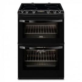 ZANUSSI Slot In 60cm Double Oven Electric Cooker With Ceramic Hob BLACK   ZCV66250BA