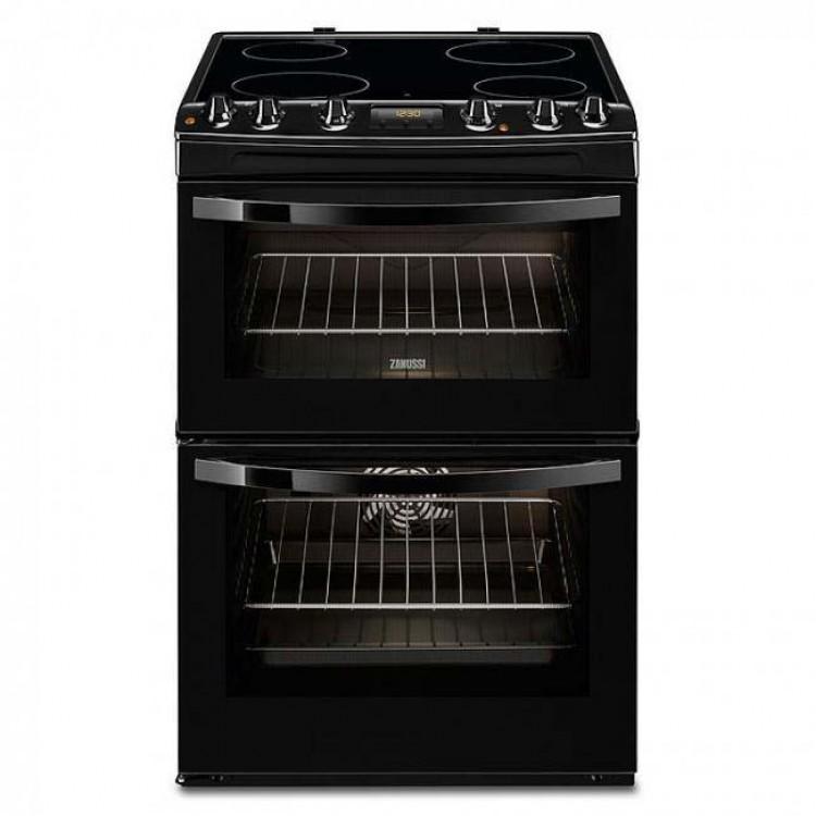 ZANUSSI Slot In 60cm Double Oven Electric Cooker With Ceramic Hob BLACK | ZCV66250BA