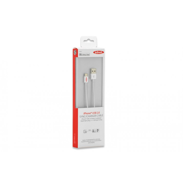 Ednet 31021 iPhone® Lightning-USB Sync/Charger Cable 1m