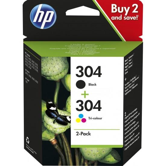 HP 304 2-pack Black/Tri-color Original Ink Cartridges | 3JB05AE