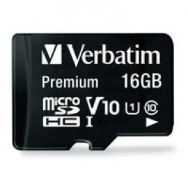 Verbatim 16GB Premium microSDHC Memory Card with Adapter, UHS-I V10 U1 Class 10   44082
