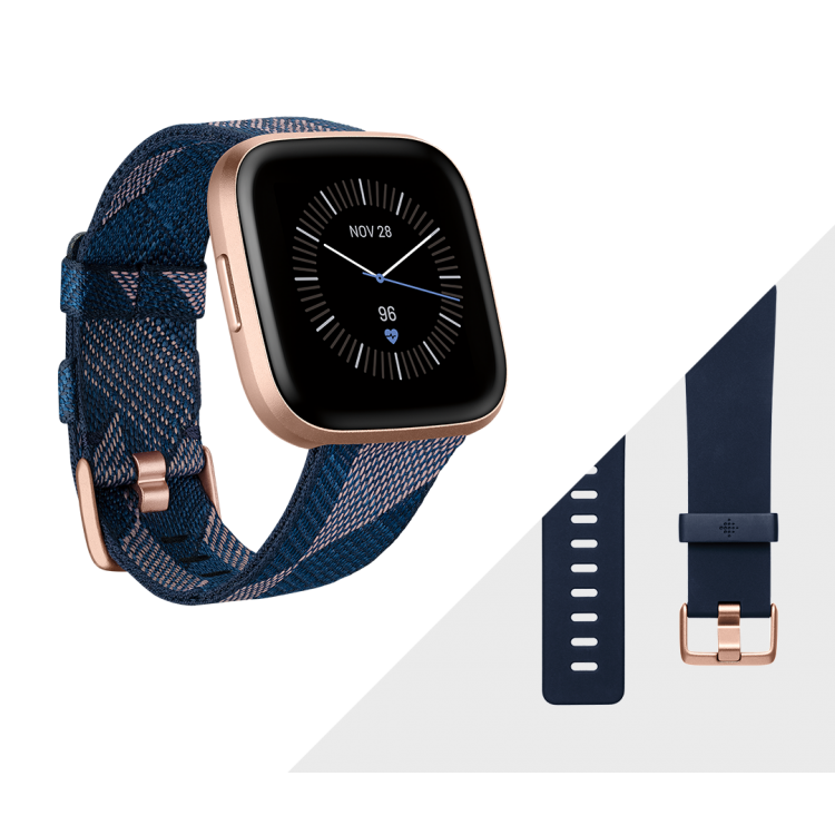 Fitbit Versa 2™ Health and Fitness Smartwatch Special Edition Navy & Pink Woven/Copper Rose Aluminium | 79-FB507RGNV