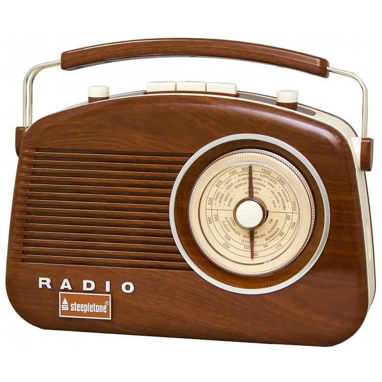 Steepletone Wood Grain Effect Brighton 1950's Portable Retro Style Radio