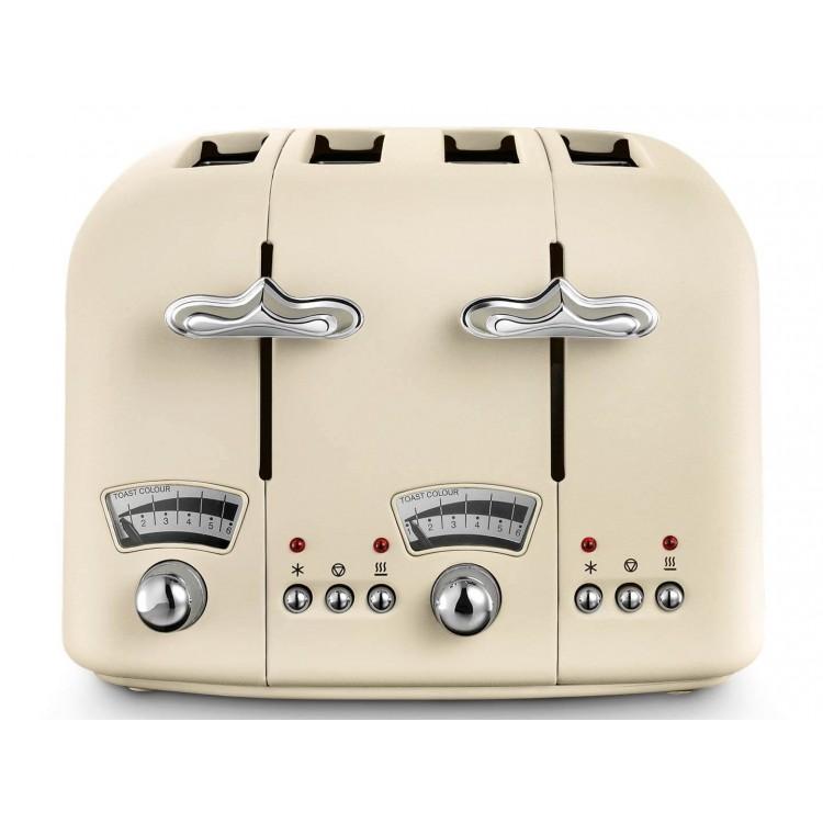 De'longhi Argento Flora Beige 4 Slice Toaster | CT04.BG