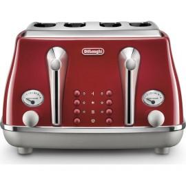 De'longhi Icona Captials Red 4 Slice Toaster   CTOC4003.R