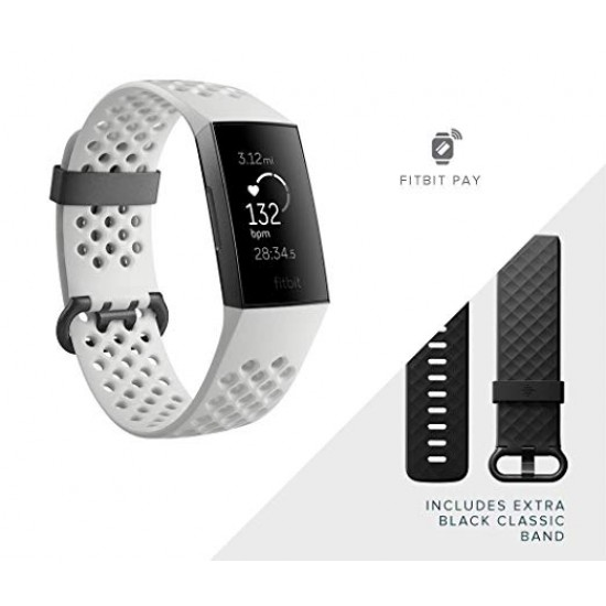 Fitbit Charge 3 Advanced Health and Fitness Tracker Frost White Sport - Graphite Aluminium | FB410GMWT