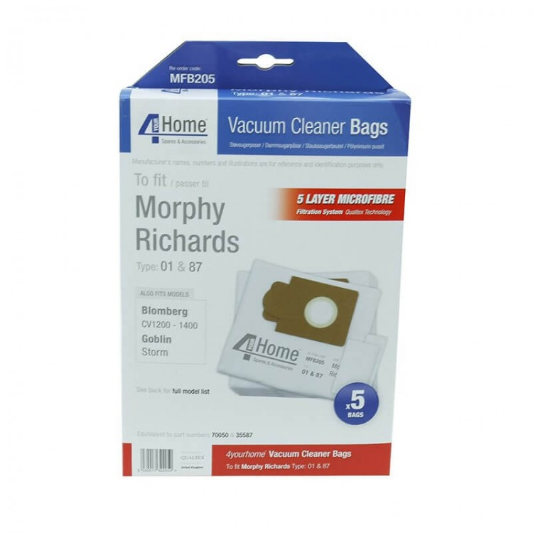 4 Your Home MORPHY RICHARDS MFB205 Microfibre Dustbags (5)