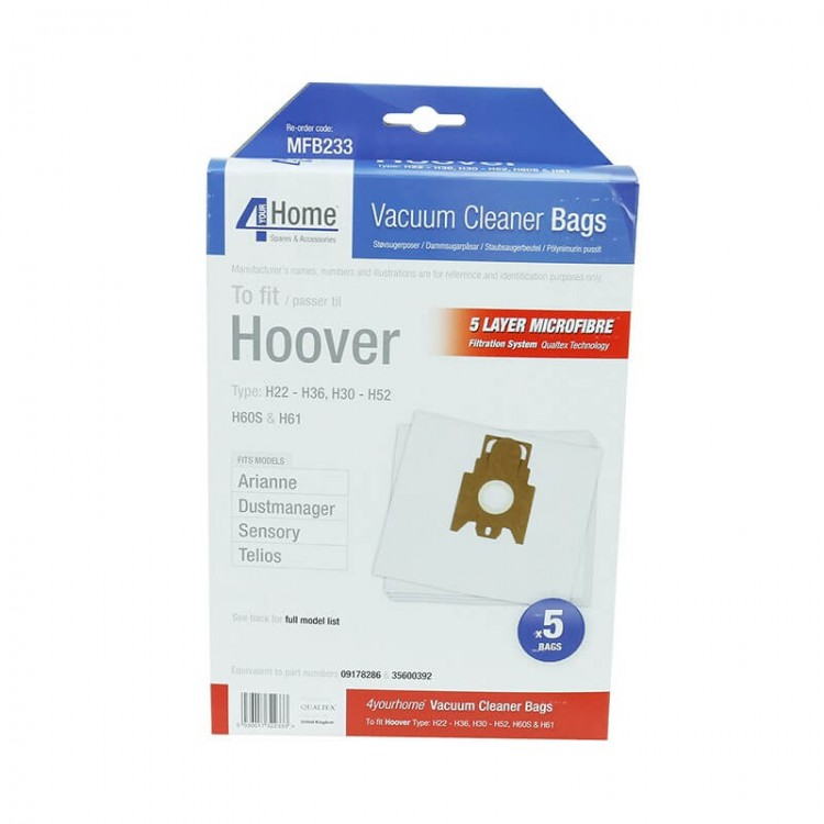 4 Your Home Hoover Pack of 5 Micro Fibre Bags | MFB233