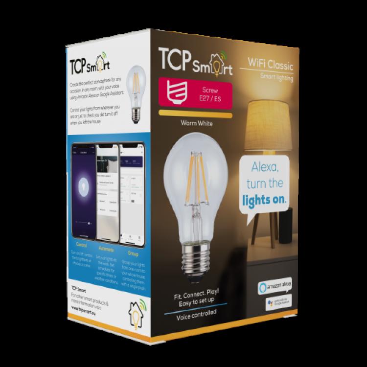 TCP TCPE27FIL Smart WiFi LED Filament 2700K Dimmable Classic E27 light bulb
