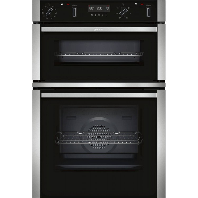 Neff U2ACM7HN0B Built-in Double Oven with CircoTherm® Black