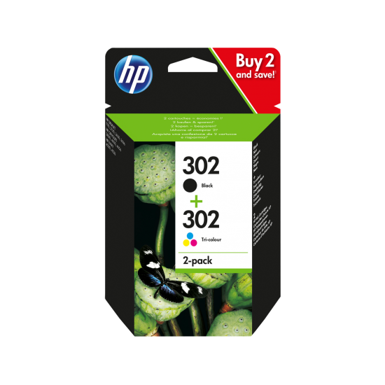 HP 302 2-pack Black/Tri-color Original Ink Cartridges | X4D37AE