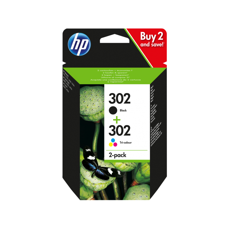 HP 302 2-pack Black/Tri-color Original Ink Cartridges | X4D37AE