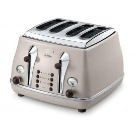 De'longhi Icona Vintage Beige 4 Slice Toaster   CTOV4003.BG